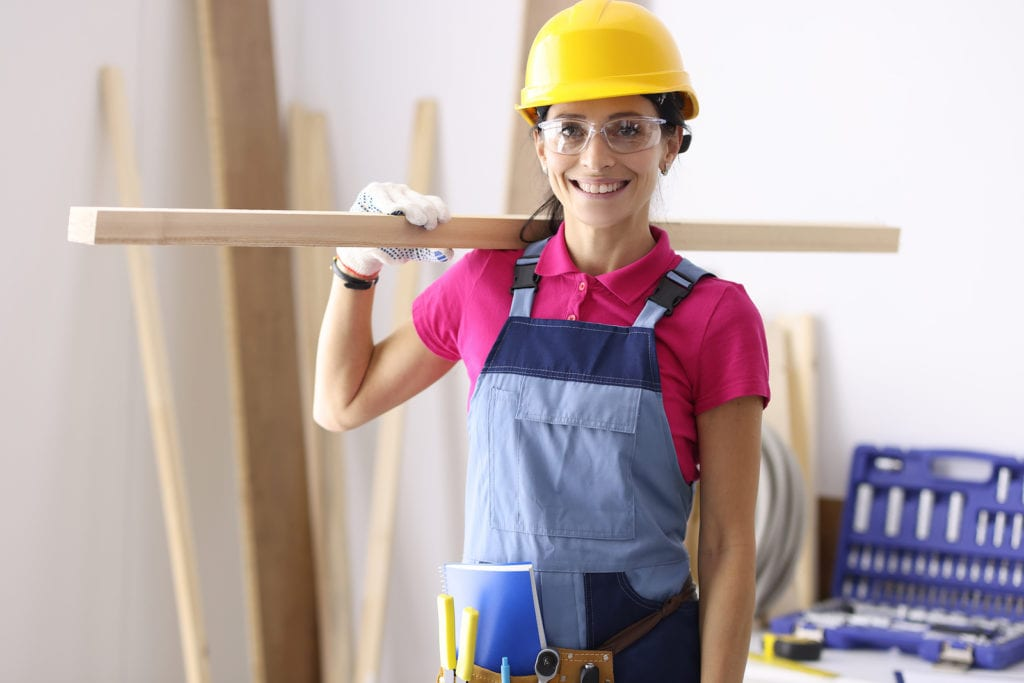 This image has an empty alt attribute; its file name is bigstock-Woman-Carpenter-In-Protective-394423649-1024x683-1.jpg